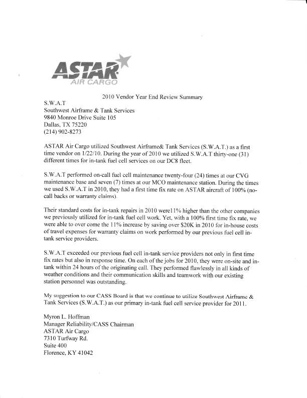 Astar Cargo Testimonial